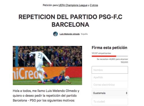 Este usuario de Change.org ha hecho la petición de repetir el partido de Champions League y ha causado revuelo en las redes sociales.