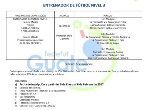 Los detalles para obtener el nivel 3 y ser entrenador de Liga Nacional. (Foto: Fedefut Guate)