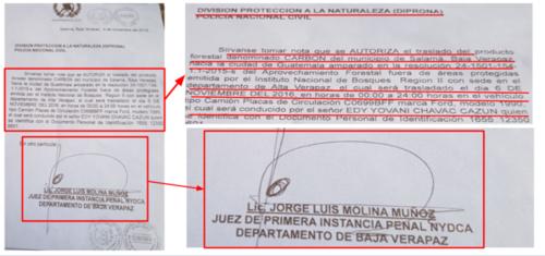 Oficios firmados por el juez Jorge Molina que autorizan el traslado de carbón.