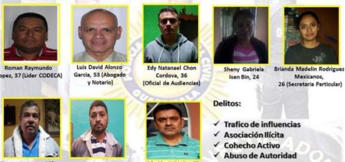 A los detenidos se les señala de asociación ilícita, cohecho pasivo, encubrimiento propio, abuso de autoridad y simulación de delito. (Foto: PNC)