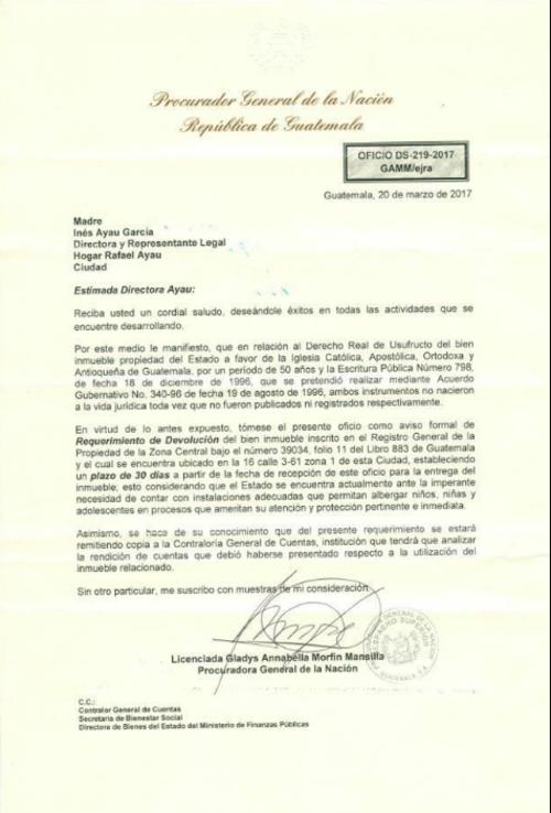 Esta es la solicitud que hizo la PGN al hogar Rafael Ayau.