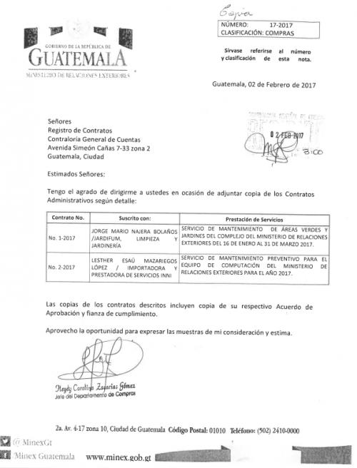 Por medio de esta carta se notifica sobre los contratos adjudicados en el Minex. (Foto: Soy502)