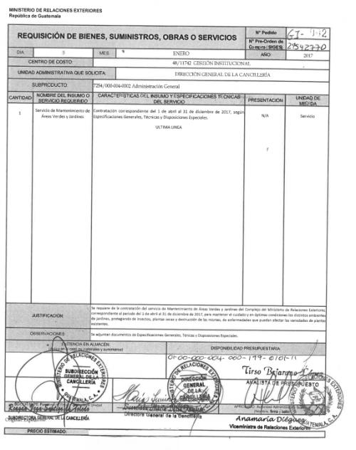 Requerimiento de servicios de mantenimiento publicados por el Ministerio de Relaciones Exteriores. (Foto: Soy502)
