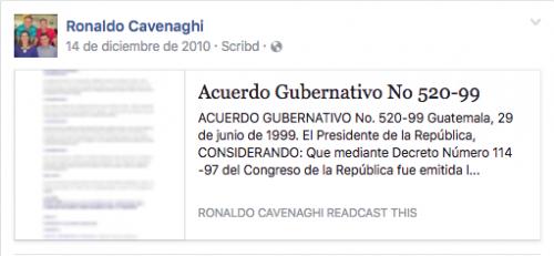 Cavenaghi indagaba en 2010 respecto al reglamento interno del Ministerio de Comunicaciones. (Foto: Soy502)