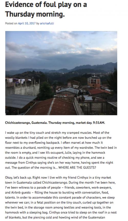 Así se observa la página donde narra su experiencia en Guatemala.