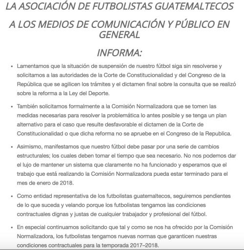 La AFG pide cambios en el fútbol guatemalteco para que el futbolista se encuentre en mejores condiciones laborales. (Foto: Captura AFG)