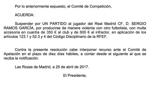 El Comité no ha dado marcha atrás en la sanción a Ramos. (Foto: Captura de RFEF)