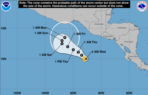 Esta es la trayectoria que tendrá la tormenta tropical. (Foto: NHC/NOAA)