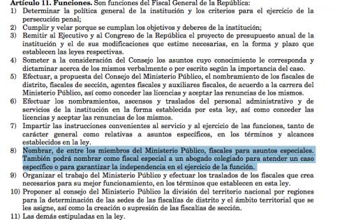 Ley Orgánica del Ministerio Público.