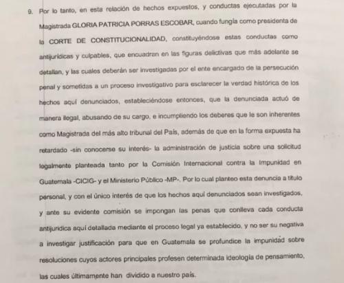 Parte de la denuncia interpuesta contra Gloria Porras.