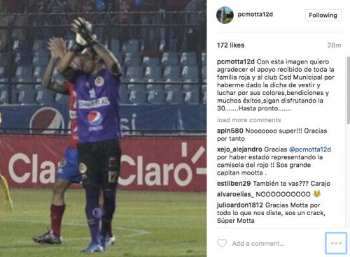 Paulo César Motta se despidió de la afición roja. (Foto: captura de Instagram)