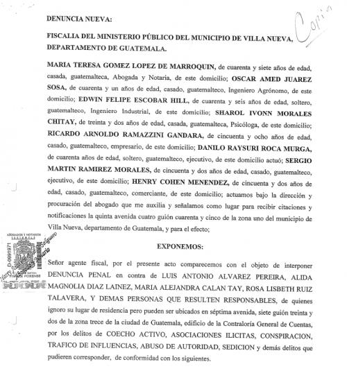 Esta es una copia de la denuncia presentada por la Municipalidad de Villa Nueva.
