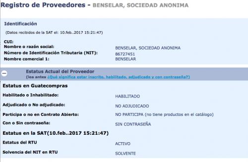 Así está la empresa registrada en Guatecompras.