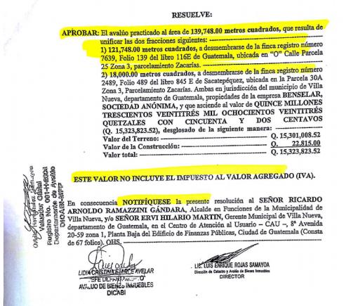 Esta es la resolución del avalúo realizado por la Dirección de Catastro y Avalúo de Bienes Inmuebles.