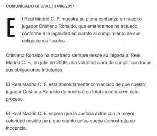 La Junta Directiva del Real Madrid está convencida de que Cristiano Ronaldo no ha cometido ningún tipo de fraude fiscal. (Foto: captura Real Madrid)