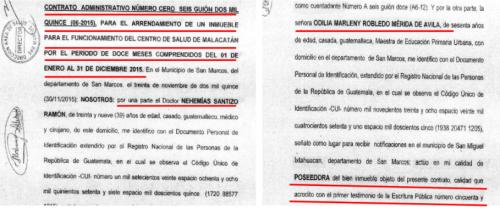 Contrato de arrendamiento del inmueble en Tacaná. (Foto: MP)
