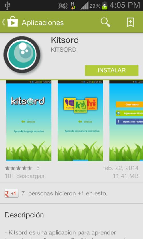 La aplicación se puede descargar desde el PlayStore de Android.
