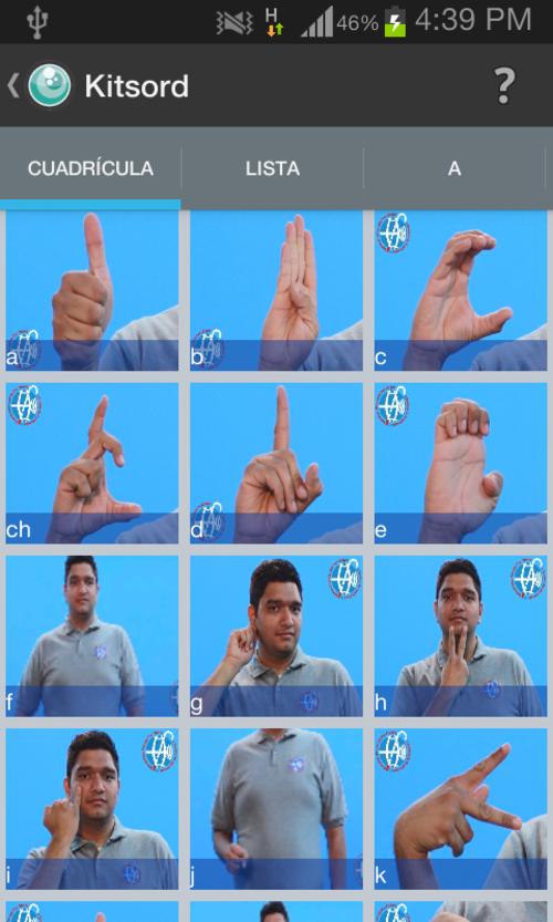 La aplicación muestra las señas para más de 250 palabras y señas.