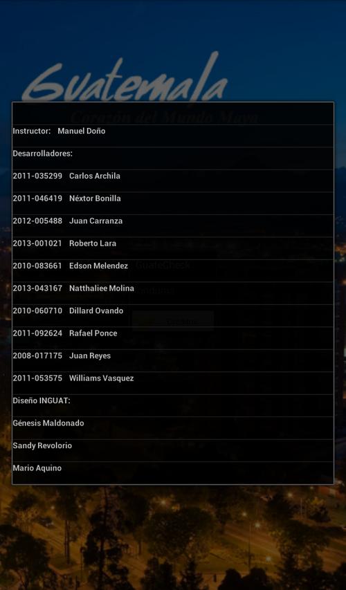 Estos son los nombres de los desarrolladores de la aplicación.