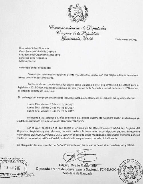 Esta fue la solicitud que hizo Edgar Ovalle para ausentarse del Congreso durante todo el mes. (Foto: Soy502)