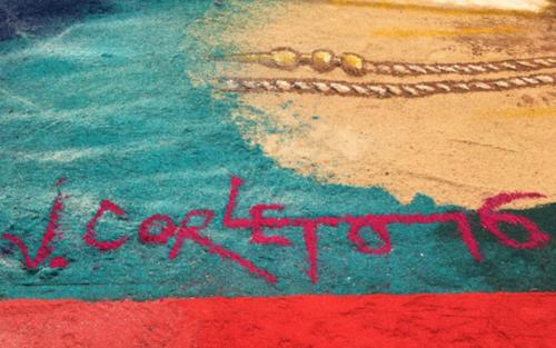 """La magnífica alfombra que recibe a la procesión de """"La Reseña"""", fue creada por Jorge Corleto. (Foto: Selene Mejía/Soy502)"""