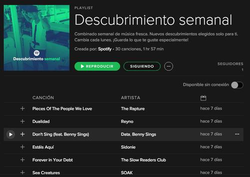 """Cada lunes """"El Descubrimiento Semanal de Spotify"""" se actualiza. (Foto: Archivo)"""