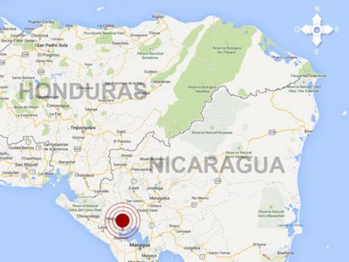 El mapa muestra el epicentro del sismo en Nicaragua, que fue sensible en Honduras y Costa Rica.