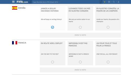 Cada selección tiene tres frases como opciones, la que más votos obtenga será la que se leerá en los micros.
