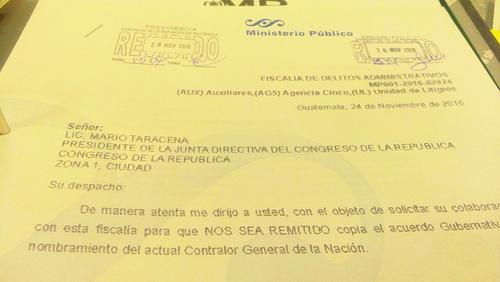 Con esta carta, el MP solicitó información de Mencos al Congreso. (Foto: El Periódico)