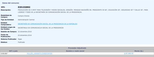 La contratación de la productora consta en el portal Guatecompras. (Foto: captura de pantalla/Guatecompras)