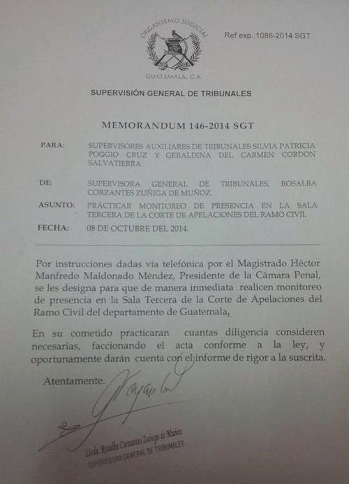Memorandum en la que se evidencia que el Presidente de la Cámara Penal solicitó una supervisión contra una Sala del Ramo Civil.