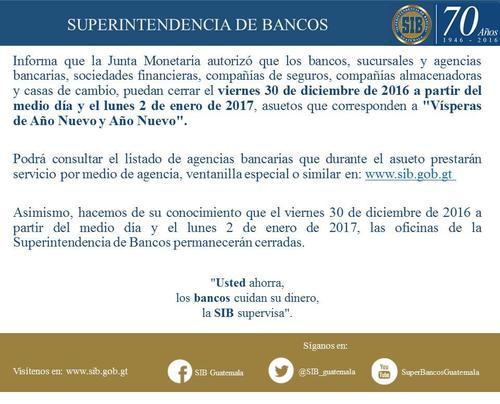 La Superintendencia de Bancos cerró minutos después de adjudicar la compra de ropa blindada. (Foto: SIB/Facebook)