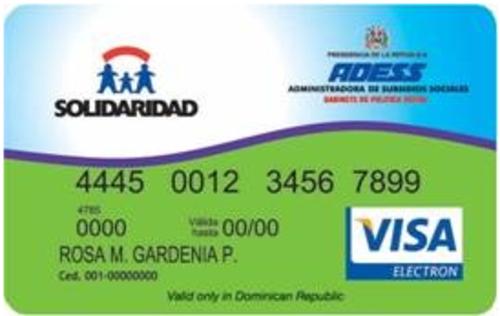 """Modelo de la """"Tarjeta de Solidaridad"""" que utilizan en República Dominicana. (Foto: Vicepresidencia de República Dominicana)"""