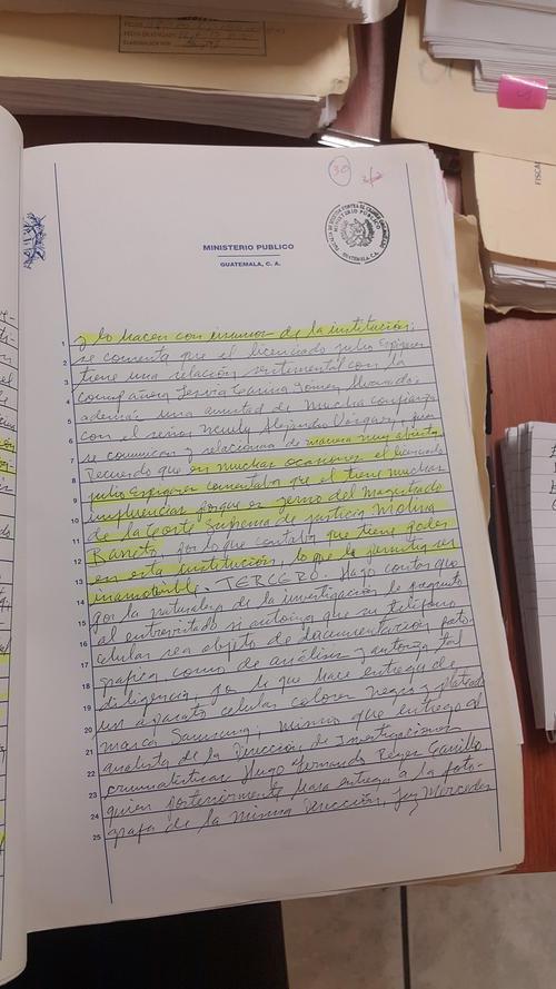 """En este testimonio dado al MP, se afirma que el señor Julio Espigares constantemente se jactaba de sus """"influencias""""."""