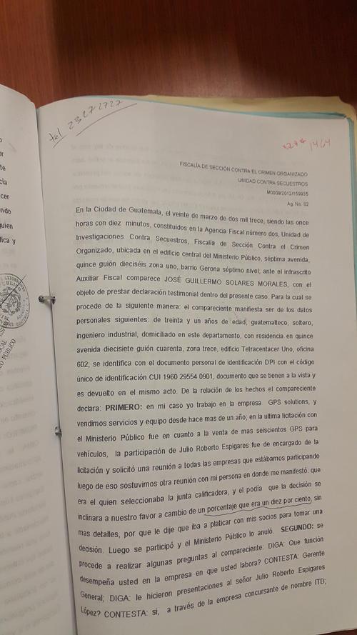 El señor Guillermo Solares testificó que Espigares le pidió soborno a todos los participantes en la licitación de GPS.