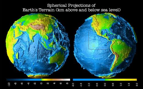 Proyecciones esféricas del planeta tierra. (Foto: gizmodo.com)
