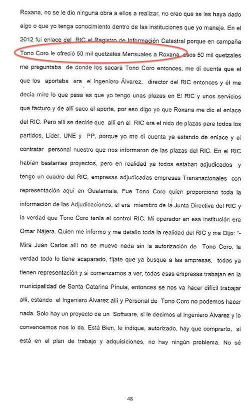 Así mencionó Monzón a Tono Coro en su declaración.