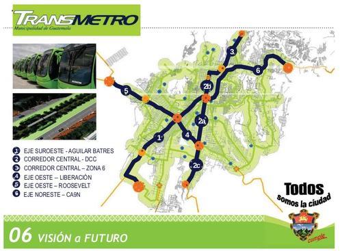 Estas son las rutas que la Municipalidad capitalina tiene previsto desarrollar en el futuro. En el mapa se observa la ruta hacia la zona 6; así como una nueva hacia la calzada Roosevelt. (Foto: Municipalidad de Guatemala)