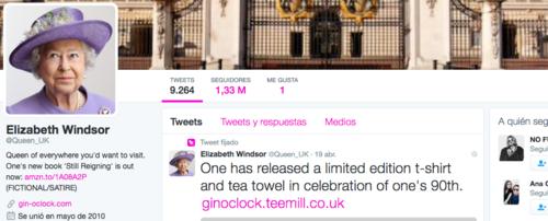 La cuenta de la reina tiene más de un millón de seguidores. (Foto: Twitter)