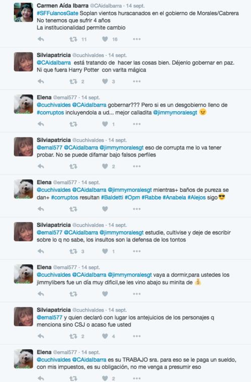 Esta es una captura de pantalla de los mensajes que quedaron registrados en Twitter con el perfil de la magistrada Silvia Patricia Valdéz. (Foto: Soy502)
