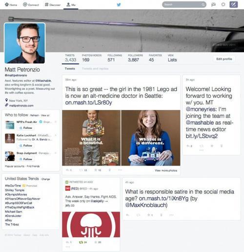 Así se podría ver Twitter, si la empresa continua con el rediseño. (Foto: tomada del sitio web Mashable)