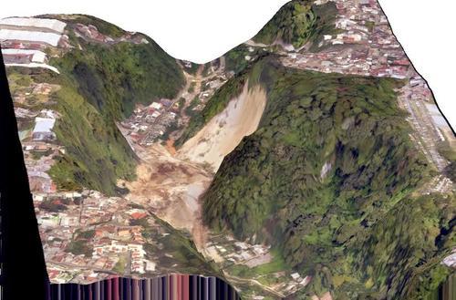 Imágen satelital muestra el área del desastre ocurrido en El Cambray II en Santa Catarina Pinula ocurrido el pasado jueves en horas de la noche. (Foto: CEMEC-CONAP-NETCORE y NASA)