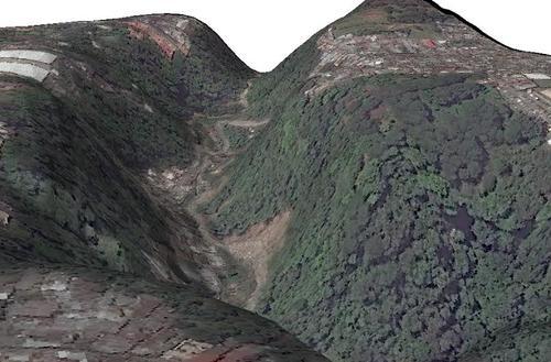 Imágen en 3D que muestra el área en la que ocurrió el deslizamiento de tierra el pasado jueves en horas de la noche. (Foto: CEMEC-CONAP-NETCORE y NASA)