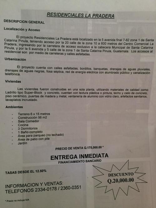 """Información de venta de propiedades en """"Residenciales La Pradera"""", ubicadas en El Cabray II. (Foto: Soy502)"""