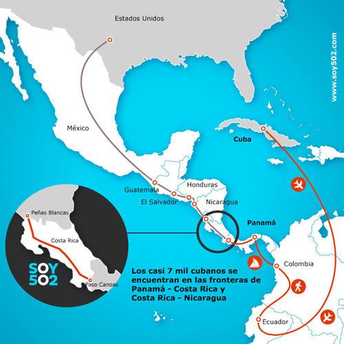 La ruta que siguen los cubanos en su travesía hacia Estados Unidos. (Diseño: Javier Marroquín/Soy502)