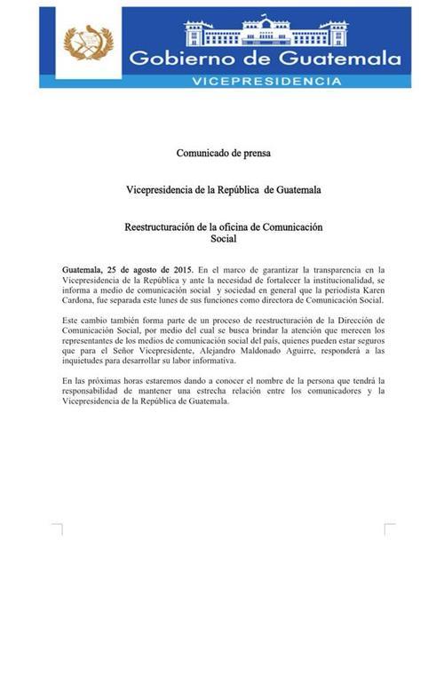 Este es el comunicado que emitió la Vicepresidencia de la República respecto a Karen Cardona.  (Foto: Vicepresidencia)