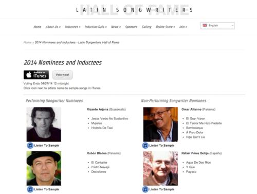 Vota por Ricardo Arjona. (Foto: Latin Songwriters Hall of Fame)