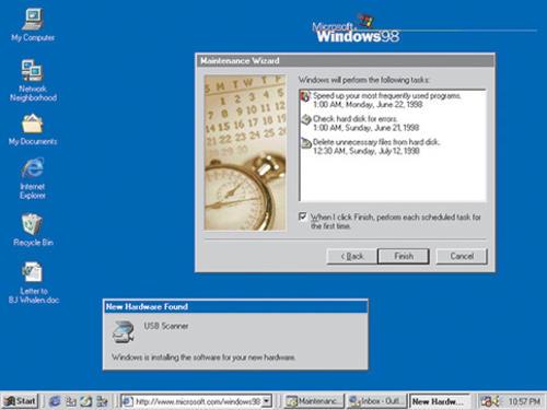 El escritorio de Windows 98, el cual salió al mercado en junio de ese año. (Foto: microsoft)
