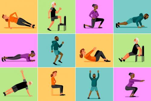 Rutinas de ejercicios para hacer en 10 minutos. (Diseño: The New York Times)