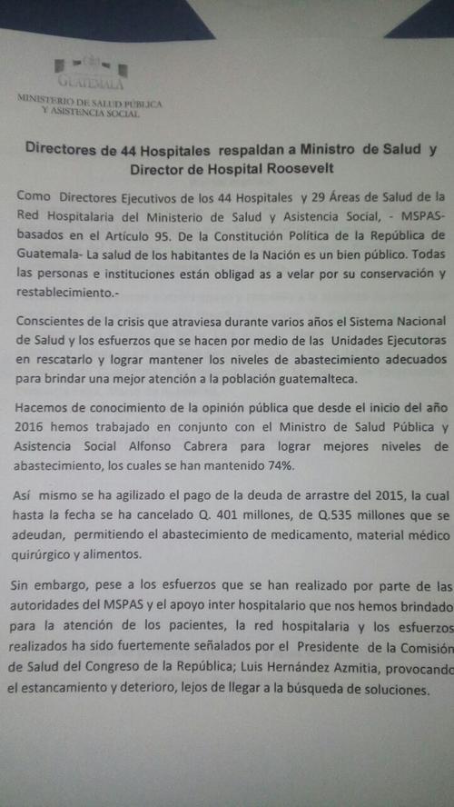 Documento de respaldo a Cabrera. (Foto: Ministerio de Salud)